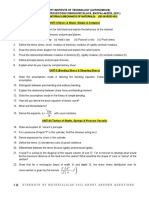 Strength Of Materials/Mechanics of Solids (CE-303/DCE-303)-Short Answer Questions-UIT-RGPV BHOPAL