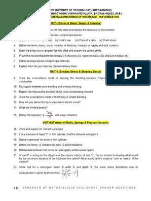 Strength Of Materials/Mechanics of Solids (CE-303/DCE-303