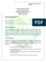 Pgp-II Term IV Amr (Sbd) Course Outline 2017-18