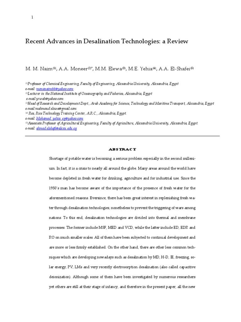Recent Advances in Desalination Technologies Final 1 | Desalination on