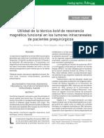 MRI en Tumores Intracraneales en Pax Prequirurgicos