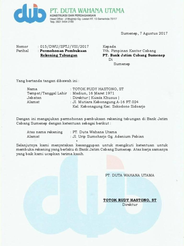 Surat Permohonan Buka Rekening Baru Perusahaan