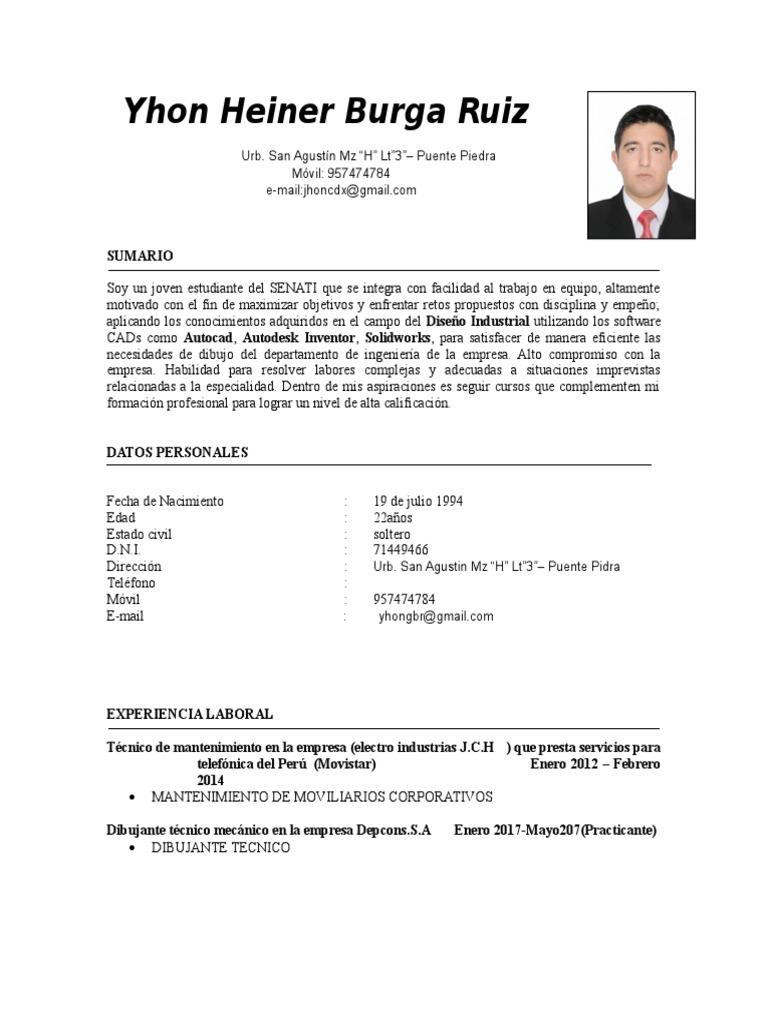 Increíble Currículum De Muestra Para Técnico De Mantenimiento ...