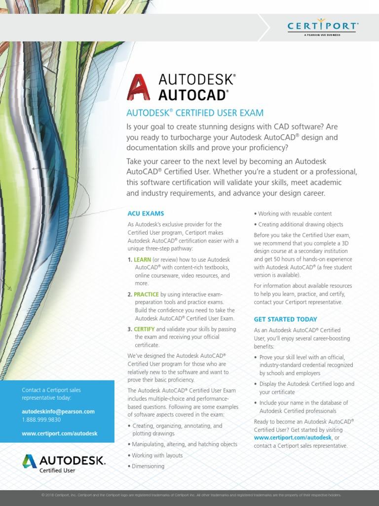 Acu Autocad Datasheet 093016ra Auto Cad Autodesk