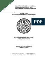 Yessica Mejía - Informe Final Del Ejercicio de Práctica Supervisada, Realizado en Distribuidora Rosy
