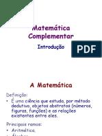 Matematica Complementar - I