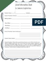 parent-student info sheet