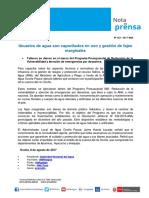 Nota de Prensa Nº 153-2017 - ALA OCOÑA PAUSA