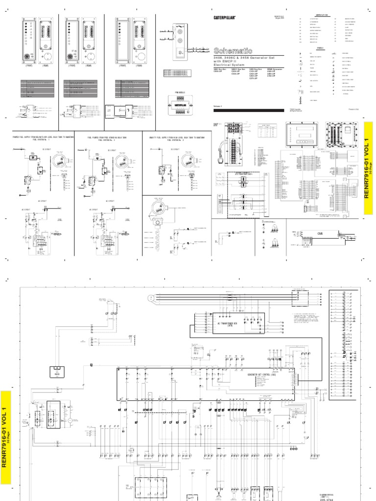 3406 - 3406 C - 3456 GEN SET EMCP II   Relay   Alternating ... Atb Wiring V Single Phase Diagram on
