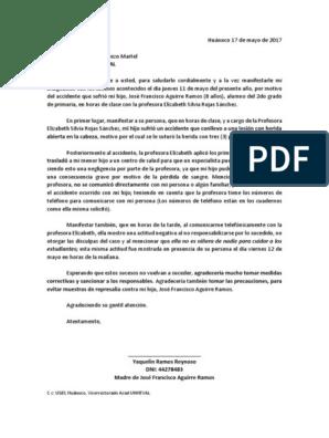 Modelo Carta De Reclamo Colegio Violencia Disturbios