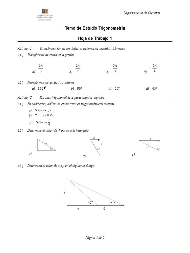 Hoja de Trabajo 1 Trigonometria