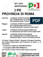 Manifesto sugli interventi 2010 del Gruppo PD Provincia di Roma