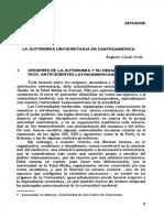 La Autonomia Universitaria en Centroamerica