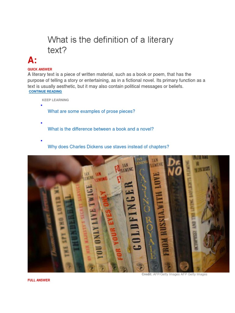 What Is The Definition Of A Literary Text
