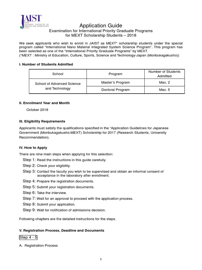 Application Guide for MEXT Oct 2018   University And College
