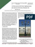 Cost Benefits of Solar-powered LED Street Lighting System Case Study-American University of Sharjah, UAE