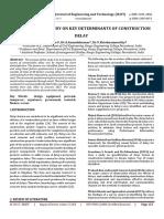 An empirical study on key determinants of construction Delay