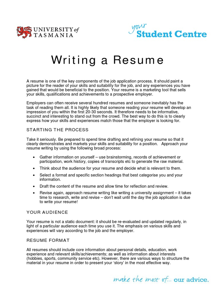 Writing A Resumepdf