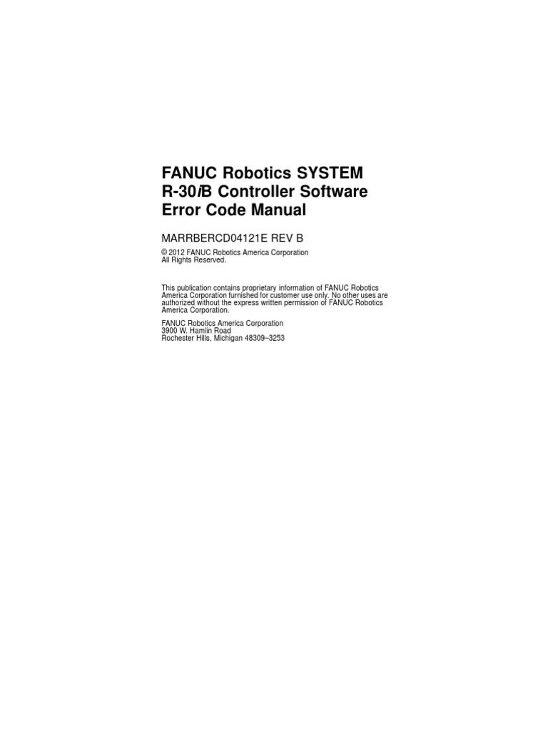 R30iB Controller Software Error Code Manual | Safety