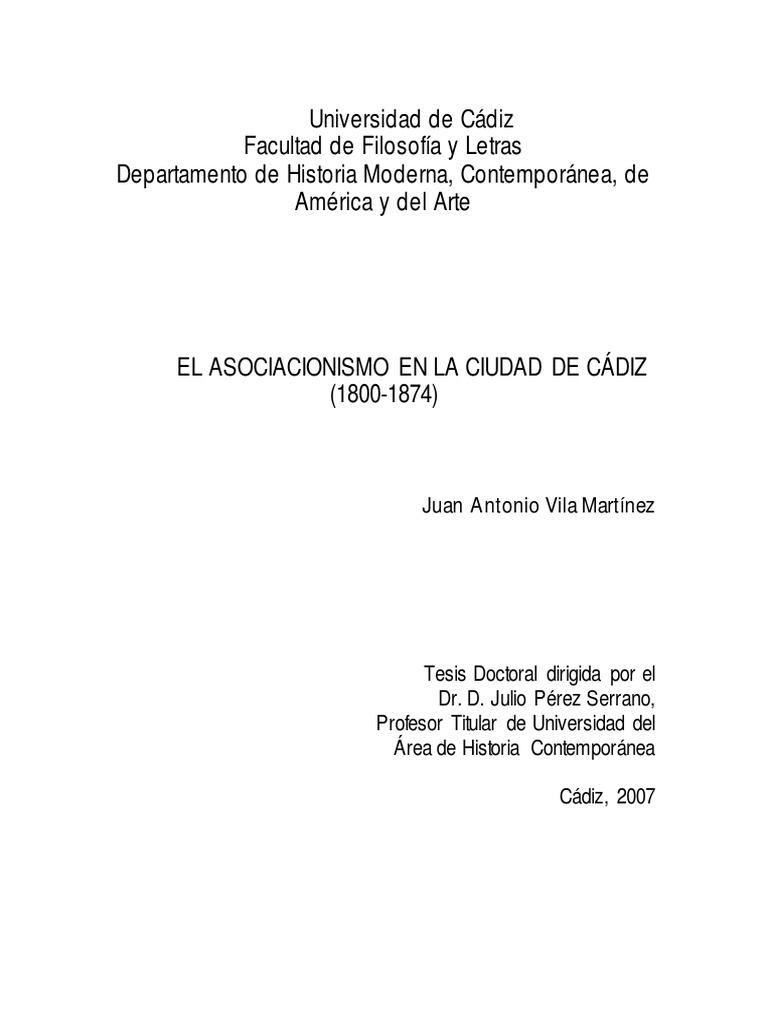 El Asociacionismo en La Ciudad de Cadiz 1800 1874