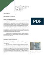12. Asesorias, Proyectos, Programas, Investigaciones, Capacitacion y Publicaciones CNCR 2012