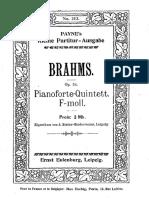 Brahms - Piano Quintet in F Minor Eulenburg Score
