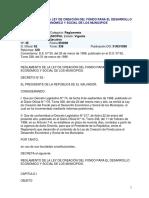 Reglamento de La Ley de Creación Del Fondo Para El Desarrollo Económico y Social de Los Municipios