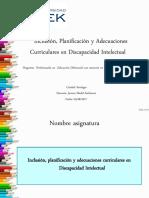 Presentación asignatura Inclusión, Planificación y AACC en DI