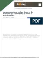 Como Solucionar Código de Error de Windows 10 Anniversary Durante La Actualizacion