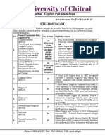 Advertisement for Situation University of Chitral