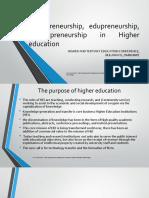 Entrepreneurship, Edupreneurship and Technpreneurship