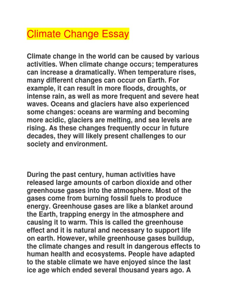 Climate change essay docx greenhouse effect global warming