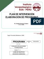 CAPACITACION 2015 - Plan de Intervención y Elaboración de Programas - CLAUDIA GUEVARA