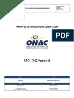 RAC-1.3-02 V08 Tarifas Servicio Acreditación ONAC 2017