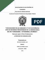 Escavasiones en Las Unidades 3 y 6 de Acjchiñacha Sitio de Entierros Prehispánicos en La Microcuenca Del Rio Fuerabamba- Cotabambas- Apurimac