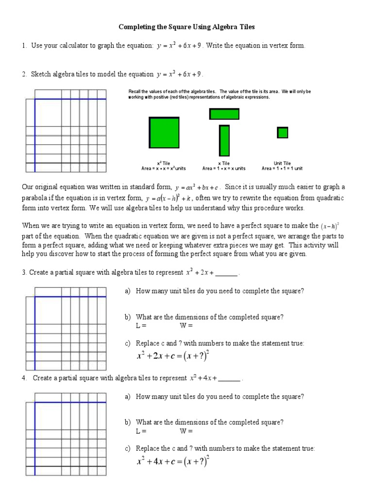 Complete the square worksheet mathematical analysis algebra falaconquin