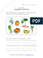 Vegetable Food Group Worksheet