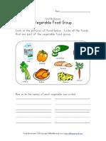 Vegetable Food Group Worksheet