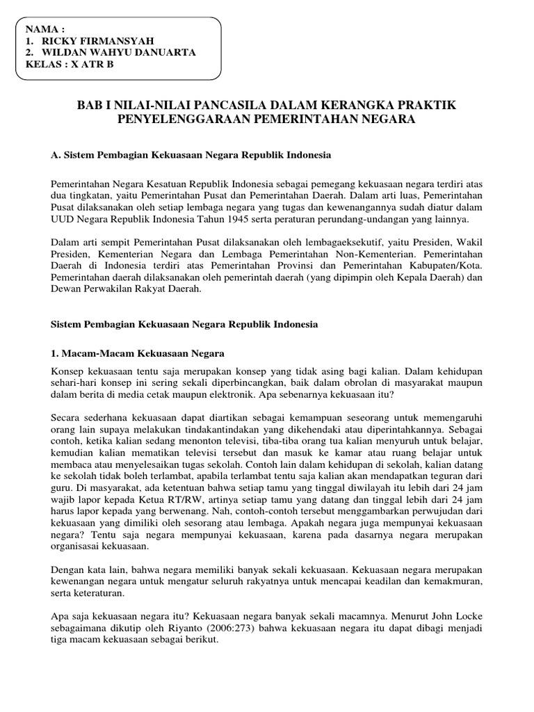 Bab I Nilai Nilai Pancasila Dalam Kerangka Praktik Penyelenggaraan Pemerintahan Negara Docx