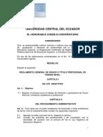 Reglamento Gral. de Grado o Titulo Profesional Tercer Nivel