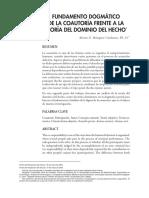 Fundamento Dogmático de La Coautoría Frente a La Teoría Del Dominio Del Hecho