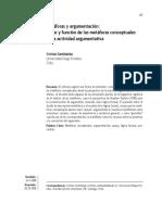 Metaforas argumentación. Lugar y función de las metáforas conceptuales en la actividad argumentativa.pdf