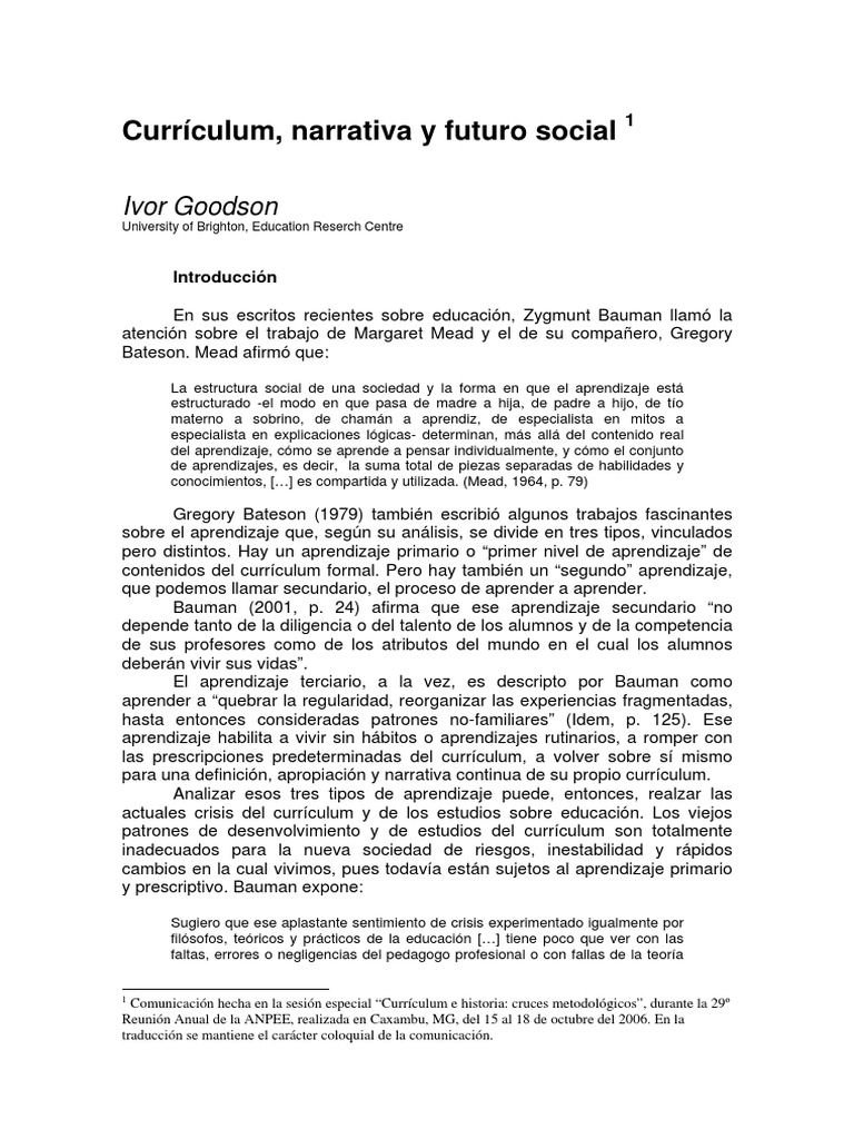 02.Goodson (Traducción) Curriculum Narrativa y Futuro Social