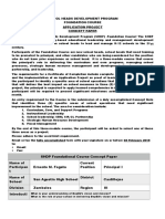 shdp foundation course application project plan curriculum