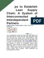 9 Steps to Establish the Lean Supply Chain