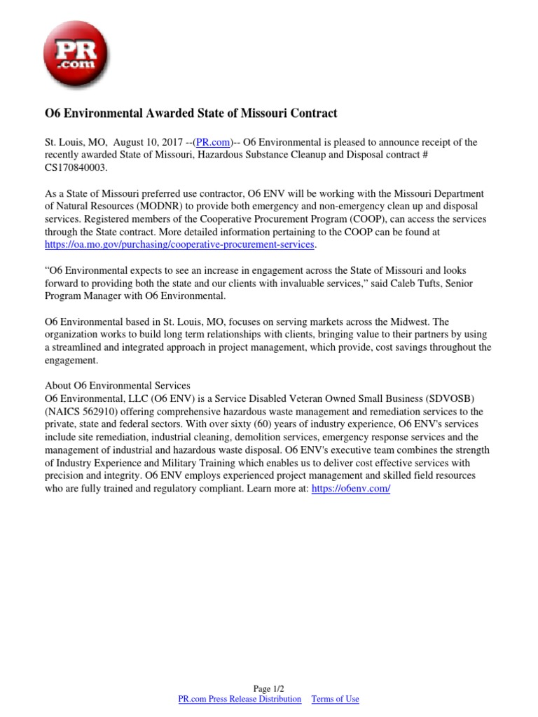 O6 environmental awarded state of missouri contract missouri o6 environmental awarded state of missouri contract missouri project management xflitez Image collections