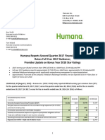 Humana Detailed 2Q17 Earnings Release 08-02-17