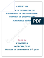 Impact of Technologies on Managing Organization Behaviour in Automobile Sector