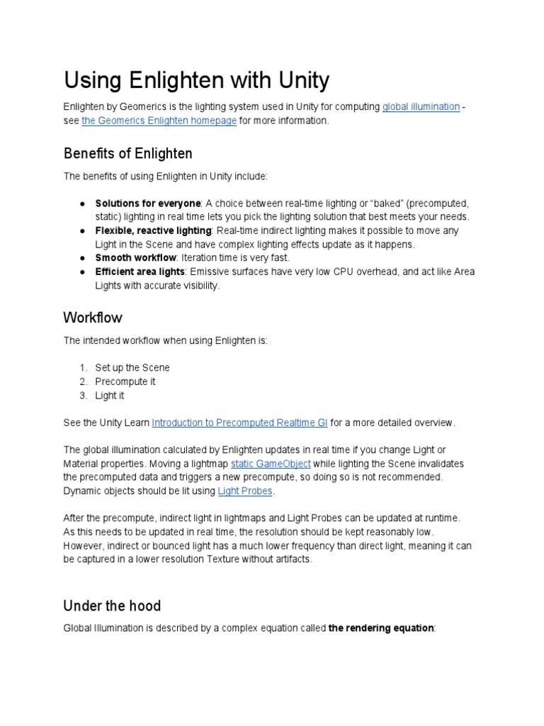 Using Enlighten With Unity | Rendering (Computer Graphics