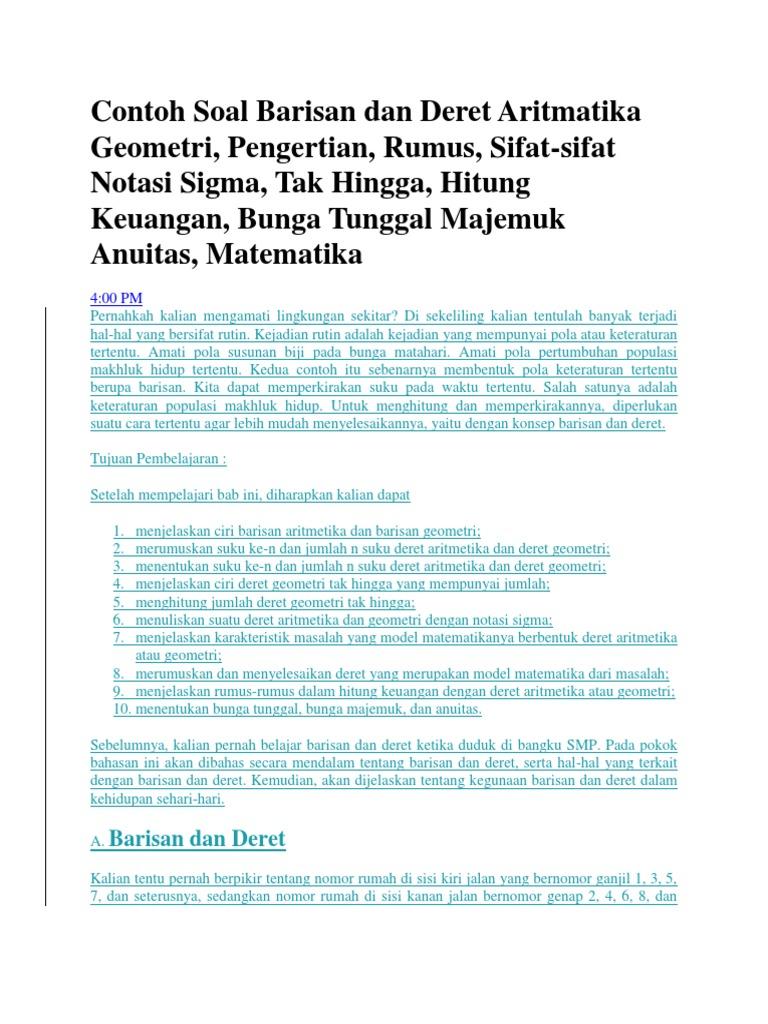 Contoh Soal Barisan Dan Deret Aritmatika Geometri Lengkap 39